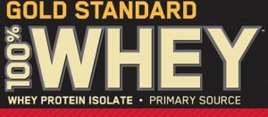 Label for Gold Standard Whey Protein powder.