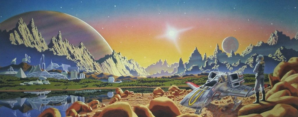 A science fiction landscape illustrated with advanced tech and idyllic features.