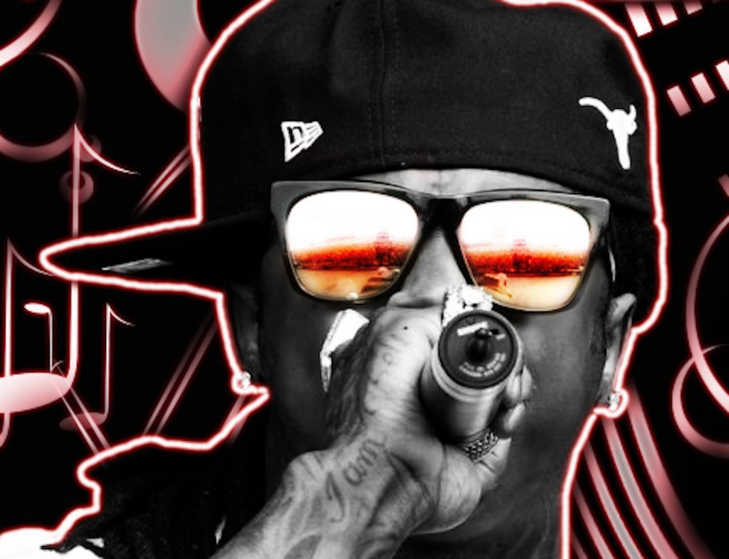 Artistic rendering of rapper Lil Wayne performing, holding a microphone and wearing sunglasses.