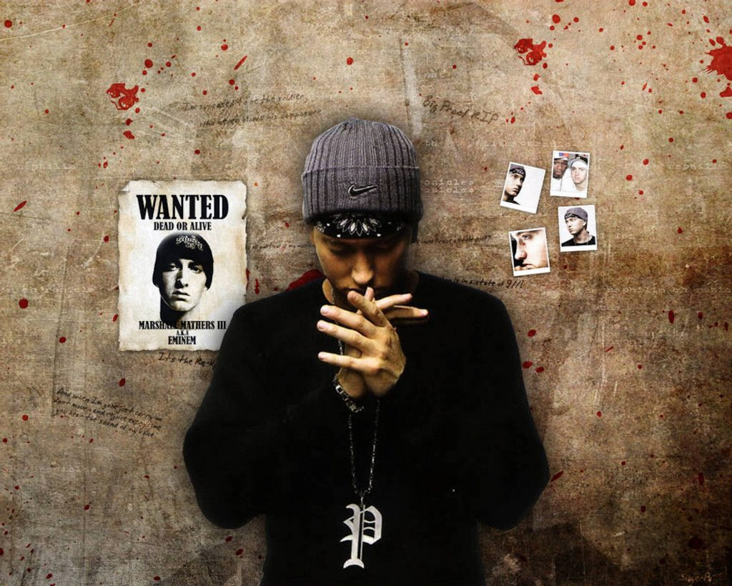 Fan art of rapper Eminem standing against a concrete wall with blood splatters and a Wanted poster.