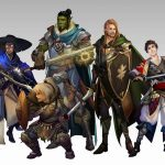 Custom character designs of various classes in Dungeons & Dragons, such as a bard, cleric, fighter, and more.