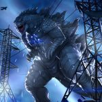 Godzilla bursting through sparking powerlines, while military planes and vehicles gather below. This Godzilla is heavily armored in scales, and walks more upright than early versions in the franchise.