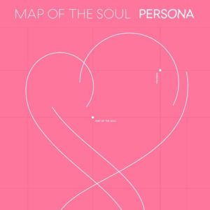 Map of the Soul: Persona cover, abstract white heart over pink background.