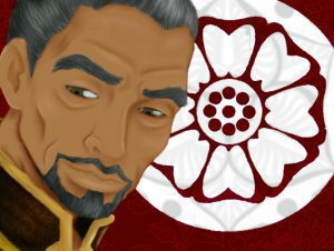Piandao, Sokka's master in Avatar, against abstract flower background in red and white.