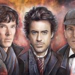 Various actors as Sherlock Holmes from different movies, including Benedict Cumberbatch and Robert Downey Jr.