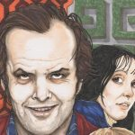 Fan art of The Shining featuring the cast in a composite cartoonish style with seventies prints in the background.