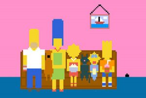 Pixelated Simpsons couch gag.