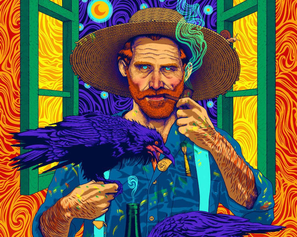 A portrait of Vincent Van Gogh in his swirling, brightly colored style, holding a crow while smoking a pipe; Van Gogh is one of the most notable artists to only achieve fame after death.