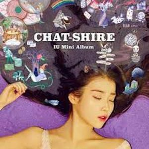 Chat-Shire album cover featuring IU on purple blanket with hair fanned out around her.