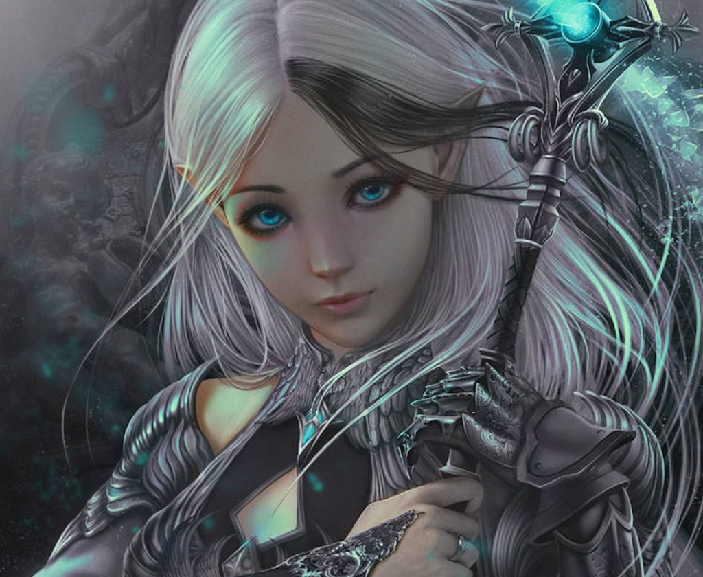An original character design for Dungeons and Dragons, half-elven female cleric with white hair wielding a staff.