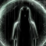 Samara from The Ring, the American reboot of horror film Ringu, staring ominously in shadow with a ring of light behind her.
