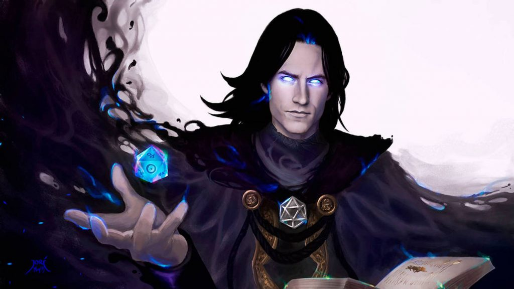 Artistic rendering of a dungeon master, the leader of a game of Dungeons & Dragons, wielding a floating blue D20 dice.