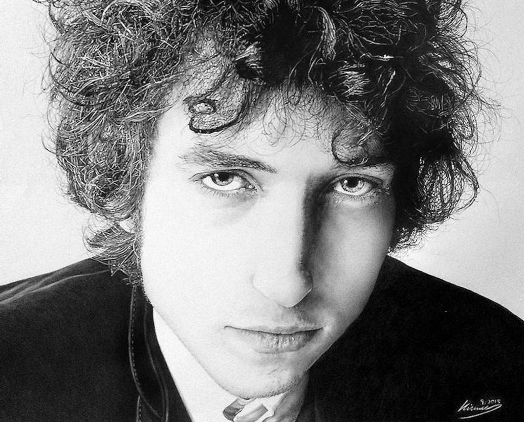 A young Bob Dylan wearing black jacket and collared shirt, black and white image in pencil by SolyiKim.