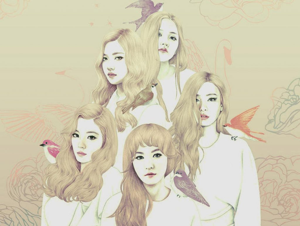 K-pop group Red Velvet pencil drawing in sepia, white, red, and pink.