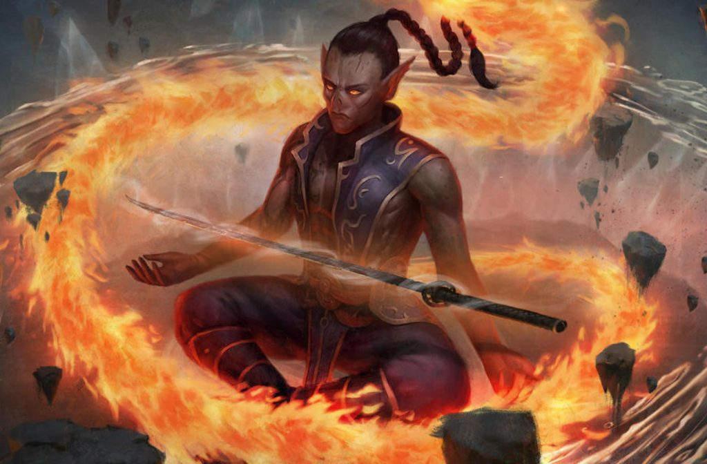 Elemental subclass monk with fire element swirling around them while they maintain meditative yet fierce pose.