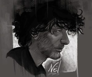 Black and white sketch of fantasy author Neil Gaiman in profile.