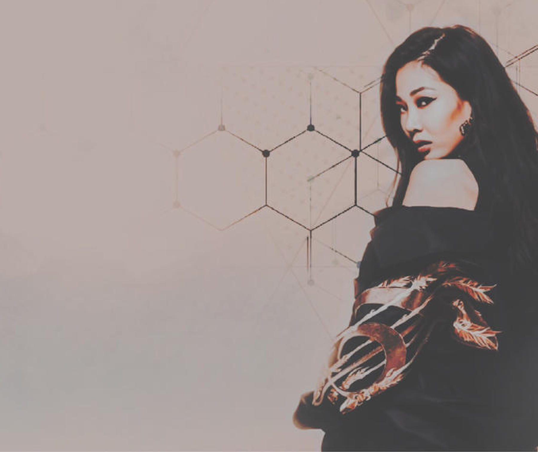 K-pop soloist Jessi with dark hair against beige background and geometric shapes.