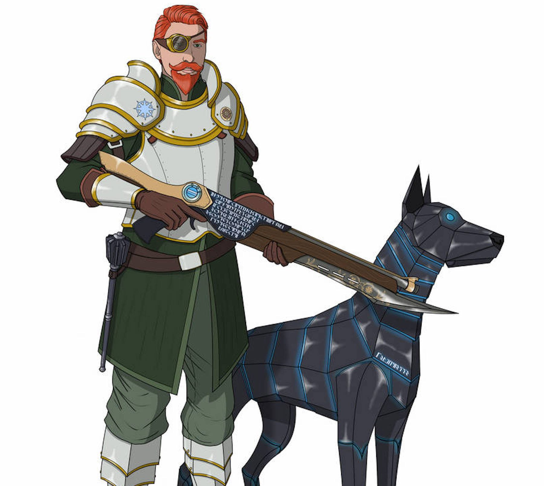 A battle smith subclass of artificer from Dungeons and Dragons standing next to his automaton dog and wearing a suit of armor.