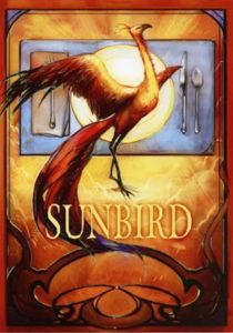 Cover for Sunbird by Neil Gaiman, illustration of a beautiful long-tailed bird taking flight against the sun.